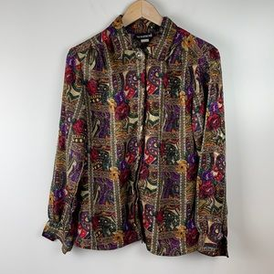Vintage Notations Abstract blouse size 10
